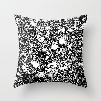 Black and white flowers Throw Pillow by Taoteching / C4Dart