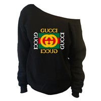 Distressed Vintage GUCCI Inspired Womens Oversized Off-Shoulder Wide Neck Slouchy Sweatshirt