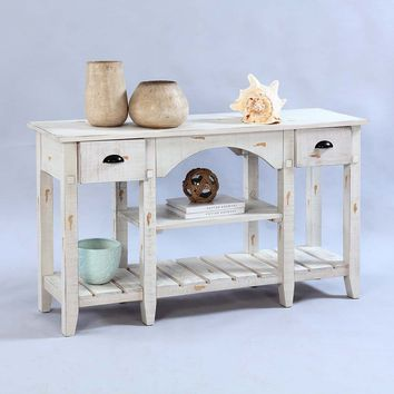 Willow Rustic Console Table Distressed White