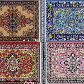 Set of 4 Rug Coasters - Persian Style Carpet Table Coasters