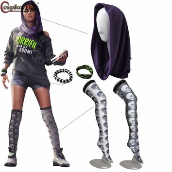 Watch Dogs 2 Cosplay Sitara Cosplay Props Sitara Headband Headscarf+Skull Stockings+Bracelets Sitara Costume Accessories JT