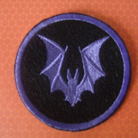 Purple Bat Embroidered Iron On Patch, Patches Goth Gothic, Circular Patch, Black Purple, Gothic Bat, EGL Gothic Lolita, Embroidered Applique