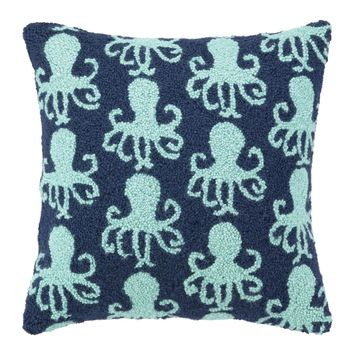 Teal Dancing Octopus Pillow 18X18""