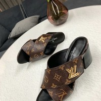 Louis Vuitton LV Flip Flop Sandal Women Slipper Brown