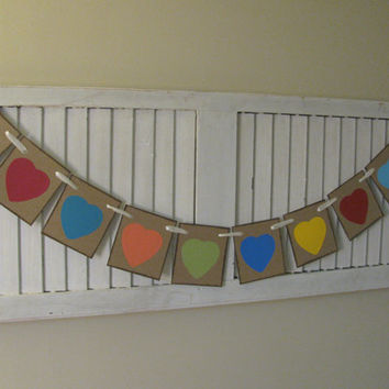 Colorful Heart Banner Garland Bunting Beautiful Wedding Banner Pick Your Own Colors