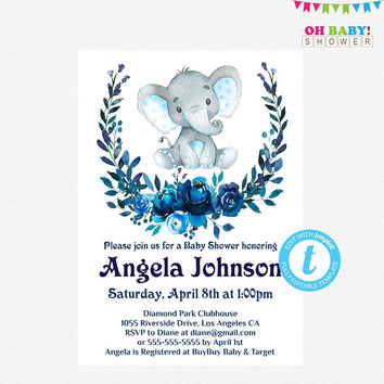 Elephant Baby Shower Invitation Boy, Blue Elephant Invites, Floral Baby Shower Invitation, Watercolor Baby Shower Template, Templett, ELWB