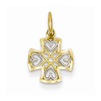 14k Two-tone Gold Small Cross  Hearts Charm