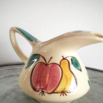 Vintage Purinton Pitcher Fruit Apple and Pear, Vintage 32oz Dutch Jug, Hand Painted Purinton Apple Pitcher