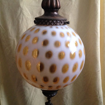 Fenton Glass Opalescent Honeysuckle Coin Dot Swag Lamp