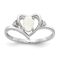 14k White Gold Genuine Australian Opal Diamond Heart Ring