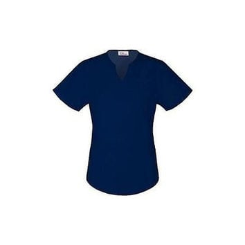 Vital Threads Women's Split V-Neck Core Scrub Top, Medium, Navy, 77948