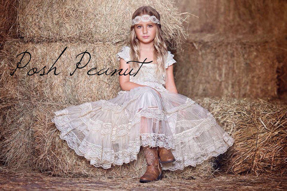 Lace Rustic Flower Girl Dress, Champagne From