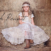 lace rustic flower girl dress, champagne lace dresses , flower girl dress , country chic flower girl dress, rustic wedding dress, lace dress
