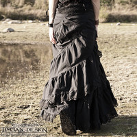 Sale - LONG HEMP SKIRT -  Wrap around Ruffle - Hippie Boho Organic Steampunk Pixie Steam punk Belly dance - Black with lace border