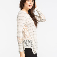 Blu Pepper Lace Side Womens Sweater White Combo  In Sizes