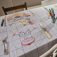 Doodle Tablecloth - Linen Tablecloths where you Draw on it, Wash it, Do it again