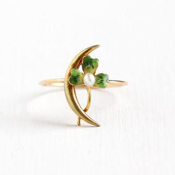 Antique 10k Yellow Gold Crescent Moon & Green Enamel Shamrock Seed Pearl Ring - Size 4