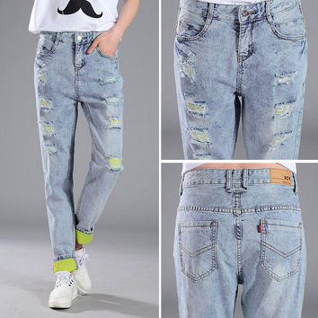 Hole Fashion Denim Jeans Pants Trousers