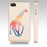 iPhone 4s case, iPhone 4 case, iPhone 5 case, watercolor giraffe, colorful watercolor painting, animal art for your phone