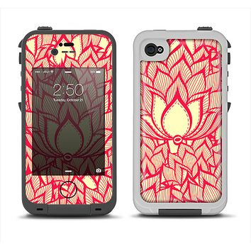 The Sketched Red and Yellow Flowers Apple iPhone 4-4s LifeProof Fre Case Skin Set
