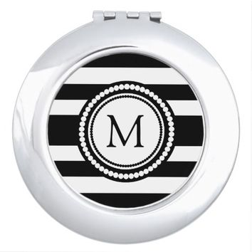 Bold Striped Black And White Monogram Customize Makeup Mirror