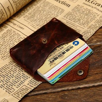 Vintage Genuine Leather Credit Card wallet Credit Card holder Old Classic small Coin purse with snap ID case holder soft leather