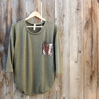 Sequin Pocket Tunic Top in More Colors