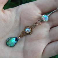 choose 1 abalone belly ring AURORA amethyst  in beach summer moroccan belly dancer indie gypsy hippie morrocan boho and hipster style