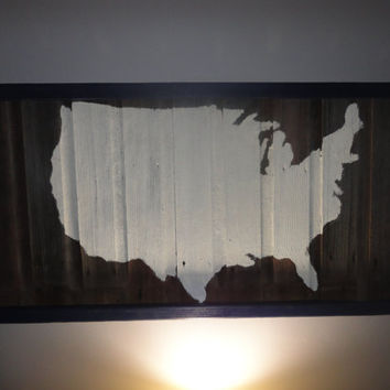 Barn Wood USA Map Wall Art by ByFolks on Etsy