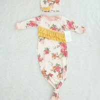 Take Home Outfit Ruffled Vintage Floral Tie Baby Girl Gown with Matching Winkie Hat Knot Baby Sack