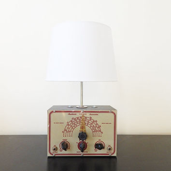 INDUSTRIAL AGE  LAMP - Antique 1950's Heathkit Signal Generator Table Lamp, Made in New York City