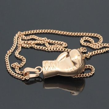 Fashion alloy Gold/Silver/Black Lovely Mini Boxing Glove Necklace Boxing match Jewelry Cool Pendant for Men Boys Women Girl Gift