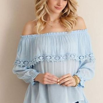Monika Off Shoulder Blouse - Powder FINAL SALE!