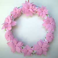 Pink Felt Flower Wreath with Polka Dot Ribbon
