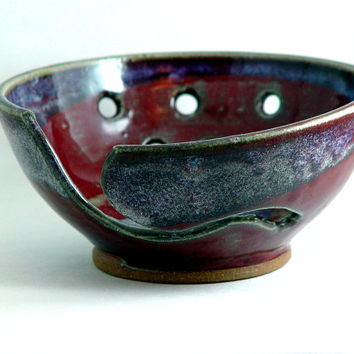 Small 6 Inch Red & Purple Yarn Bowl for Knitting Knit Knitters or Crochet, Wheel Thrown stoneware pottery ceramic