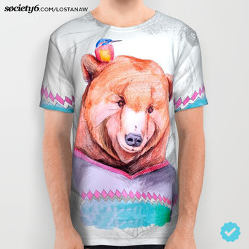 Bear & Bird All Over Print Shirt by Lostanaw