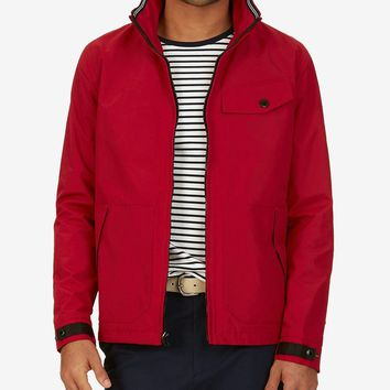 Nautica Mens Water-Resistant Hooded Bomber Jacket