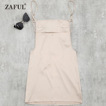 ZAFUL Sexy Silky Satin Dress Backless Slip Bodycon Club Dress Cotton Stretchy Open Back Party Dress Vestidos Black/White/Beige