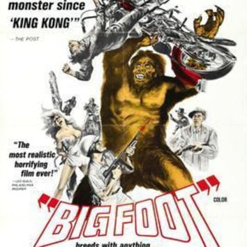 Bigfoot movie poster Sign 8in x 12in