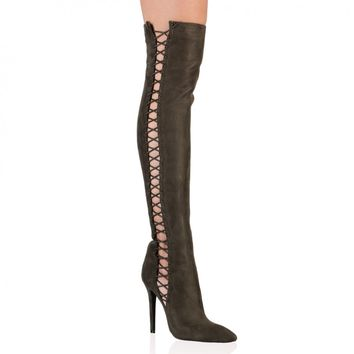 Deborah Over The Knee Boots In Khaki Faux Suede