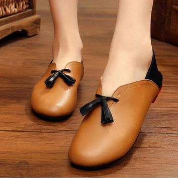 Handmade genuine leather ballet flat shoes women female slip on leather car-styling flat shoes casual shoes tassel women shoes
