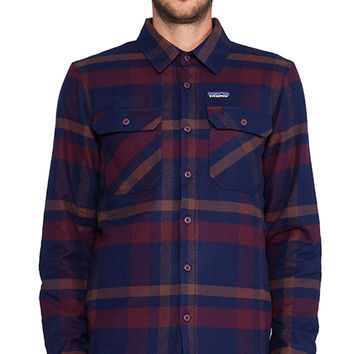 Patagonia Insulated Fjord Flannel Jacket in Blue
