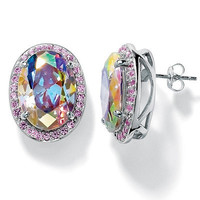 Palm Beach Jewelry Silvertone Aurora Borealis/Pink Cubic Zirconia Earrings