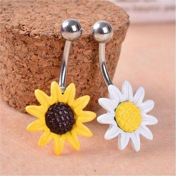 ac ICIKO2Q New Arricel Sun Flower  Medical Stainless Steel Piercing Belly Button Rings Body Piercing Navel Jewelry Free Shipping