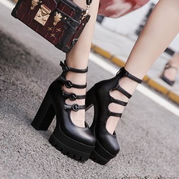 Straps Ankle Wrap Round Toe Platform High Chunky Heels