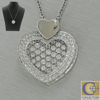 Michael M Fashion 14k White Gold 1.51ct Pave Diamond Heart Pendant Necklace MH11