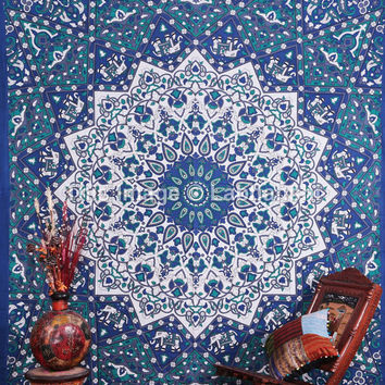 Hippie Psychedelic Tapestries , Elephant Wall Hanging ,Indian Star Mandala Tapestry Throw Bedspread Queen Bed Decor Ethnic Decorative Art