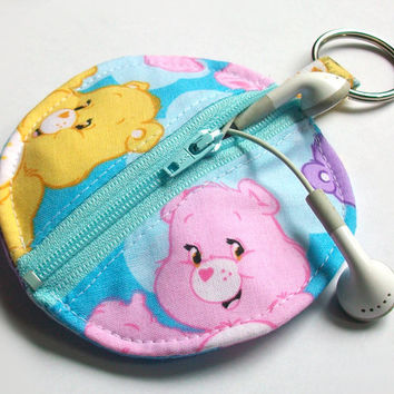 Care Bears Earbud Holder / Best Friend Bear Circle Pouch / Cheer Bear Coin Purse / Funshine / Carebear / Carebears / Sky Blue