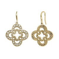 Marie Claire Jewelry Crystal Gold Tone Double Clover Drop Earrings (Yellow)