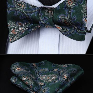 BP714GS Green Blue Paisley Bowtie Men Silk  Self Bow Tie handkerchief set